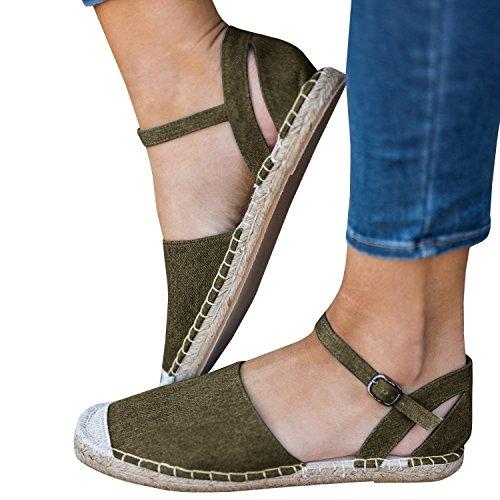 Minetom sandali donna estivo eleganti piatto donna espadrillas caviglia con spalline sandali bassi bocca di pesce sandali b armygreen eu 35