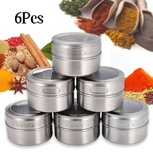 Janolia 6 Magnetic Spice Tins, 6 Round Storage Spice Rack Set, with Clear Top Lid Magnetic on Refrigerator (Round Cooking Iron)