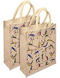 SNDIA Eco-Friendly Jute Bag, 2 Pk Yoga Printed Tiffin/Shopping/Grocery Hand Bag With Zip & Handle For Men And...