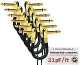 6 cavi patch da 15 cm Gotham GAC 1 Ultra Pro a bassa capacitanza (21 pF/m), per effetti per chitarra e basso, con connettori pancake di tipo TS (da 6,35 mm) ad angolo retto, placcati in oro, dal profilo basso