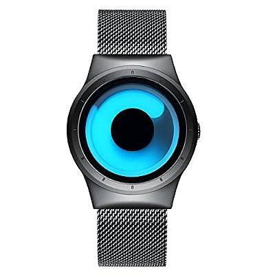 para Hombre Fashion Relojes de Cuarzo Impermeable Elegante Reloj de Pulsera con Banda de Malla de Acero Inoxidable, Business Casual Relojes para Hombres niños Azul océano por BHGWR