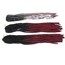 Suave Dread Lock Extensiones de Pelo Sintético sintética locomotoras trenza Cabello Ombre color Kanekalon Crochet Twist Trenzas 18Inch 1piece 100g & # xFF08; Color # 1B/99J & # xFF09;