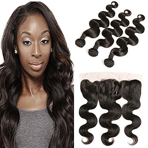 DAIMER Virgin Hair Bundles with Closure 8a 4x13 Free Part