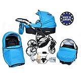 Allivio - 3 in 1 Reisesystem einschließlich Kinderwagen mit schwenkbaren Rädern, Kinderautositz, Buggy und Zubehör, Schwarz und Blau