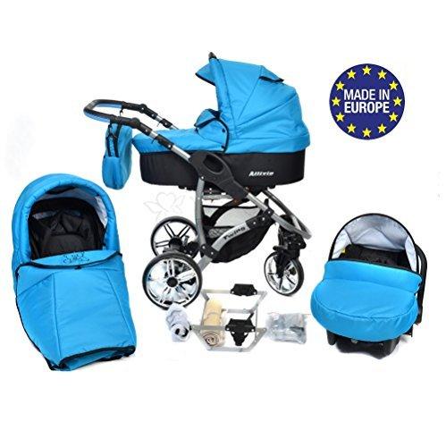 Allivio - 3 in 1 Reisesystem einschließlich Kinderwagen mit schwenkbaren Rädern, Kinderautositz, Buggy und Zubehör (3 in 1 Reisesystem, Schwarz und Blau)