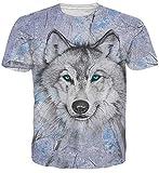 Idgreatim Unisex beiläufiges 3D Wolf-Muster-Kurzschluss-Hülsen-T-Shirt Spitzen-T-Stücke XX-Groß