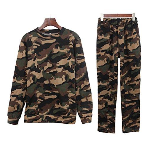 YiLianDa Femme Tops à Manches Longues Pantalons Survêtements Sportswear Sweat-shirt Casual Vert