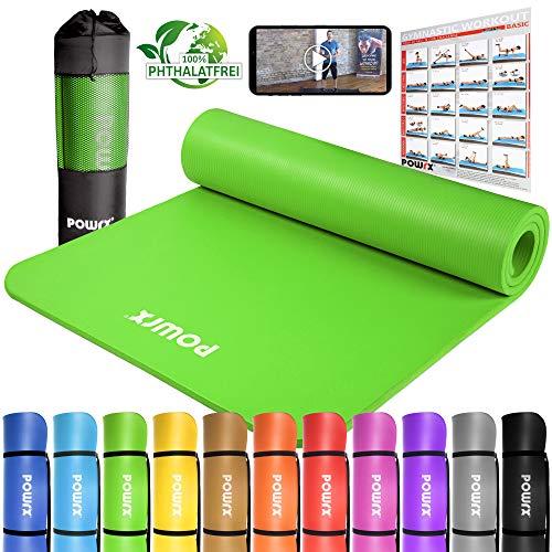 POWRX Gymnastikmatte Yogamatte Premium inkl. Trageband + Tasche + Übungsposter GRATIS I Hautfreundliche Fitnessmatte Phthalatfrei 190 x 60, 80 oder 100 x 1.5 cm I versch. Farben (Grün, 190 x 100 x 1.5 cm)