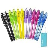 Meersee Geheimstift mit UV Licht, 12 Stück Unsichtbaren Stift Schattenfreie Pen Magische Stift mit Lampe