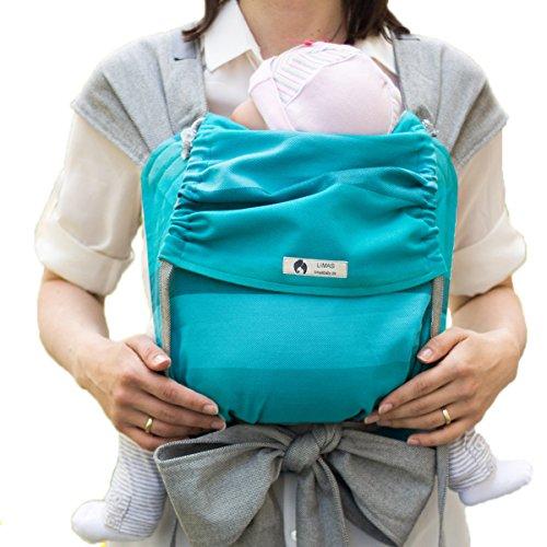 LIMAS Babytrage BIO-Baumwolle, wendbare Bauch-, Rücken- und Hüfttrage - Türkis Gestreift/Grau