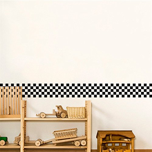 Yanqiao Black and White Mosaic Wall Floor Stickers Decal Living Room Bedroom Bathroom Skirting Line Baseboard Decoration 1Pcs/Set 3.94x78.74""