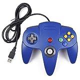 iNNEXT Manette de Jeu Nintendo 64 N64 USB Classique Gamepad Joystick pour Windows PC Mac (Bleu 1 x Pack)