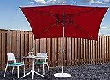 Parasol Jardin   Rouge   300 x 200 cm (3 x 2 m)   Rectangulaire   SORARA - PORTO   Polyester 180 g/m² (UV 50+)  Commande à Manivelle (Pied excl.)