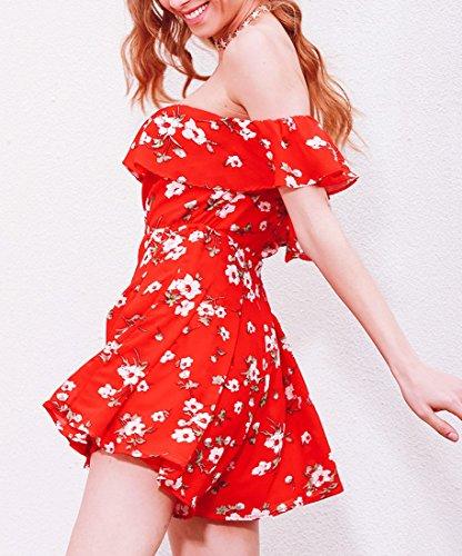 QIYUN.Z Femmes Mode Imprimé Fleur Falbala Shorts Sans Bretelles Trompe-L'Oeil Rouge Rouge