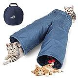 Pawaboo Túnel para Gatos, 3 Vías Túnel en Forma de Jeans Plegable Extensible Juego de Gatos con Bola Tubo de Diversión, Laberinto, Casa con Pompón y Campanas para Gatito, Mascota y Animal - Azul Denim