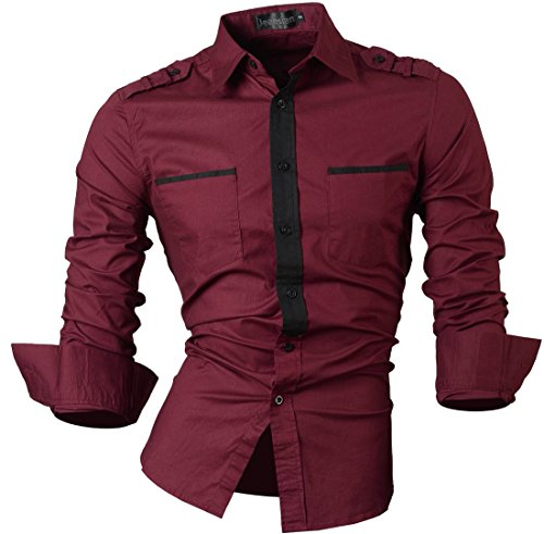 jeansian Herren Freizeit Hemden Shirt Tops Mode Langarmshirts Slim Fit 8371 8328_WineRed