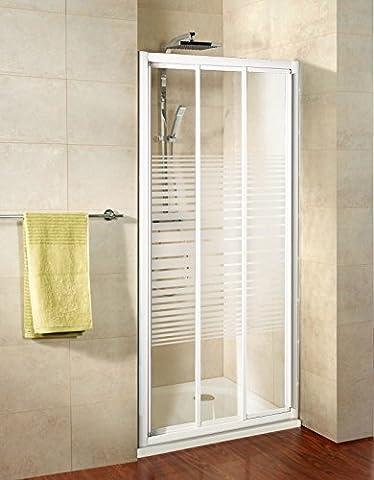 Porte de douche coulissante, 100 x 185 cm, montage en niche, paroi de douche réversible, verre de sécurité décor rayures horizontales, profilé blanc