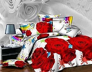 Les draps en coton pour mariage Rose Rouge-Parure de lit 4 pièces pour lit king size avec drap housse de couette en lin-Doudou Housse de couette :  il convient pour une couleur Par lot/pc
