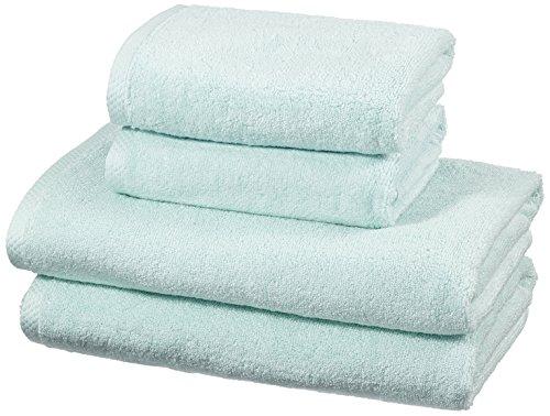 AmazonBasics - Handtuch-Set, schnelltrocknend, 2 Badetücher und 2 Handtücher - Eisblau, 100% Baumwolle