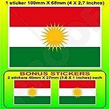 KURDISTAN Flagge, Kurd Alaya Rengîn Kurdisch 100mm Auto & Motorrad Aufkleber, Vinyl Sticker x1+2 BONUS