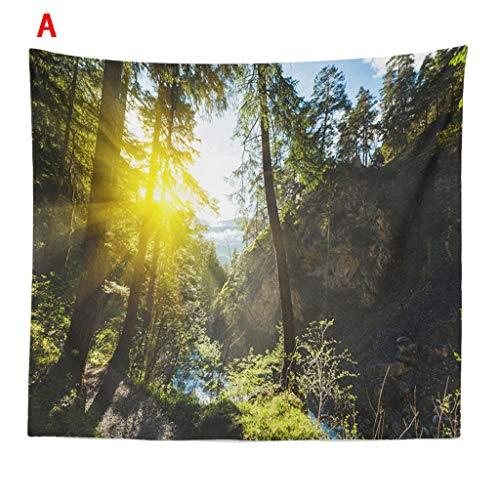 nnenlicht Wald Pflanze Druck Plane Polyester Gobelin Teppich Tuch 150x200cm Tagesdecke Hochzeitsfeier Picnic Beach Sheet(K) ()
