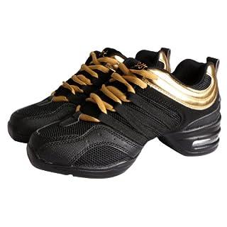 Amur Leopard Ladies' Soft Split Sole Jazz Shoes Lace Up Shoes Dance Trainers Lightweigh Dance Sneaker , 5 UK