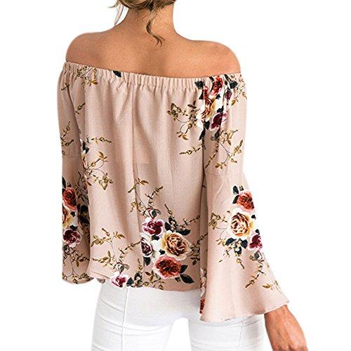 LAEMILIA T-shirts Chemise Femme Irrégulière Bretelles en Mousseline de Soie Fleur Imprimé Été Sexy Épaule Nue Vest Shirt Blouse Rose