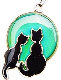 Collar que cambia de color en función del estado de ánimo –Dos gatos en la luna–En caja de regalo