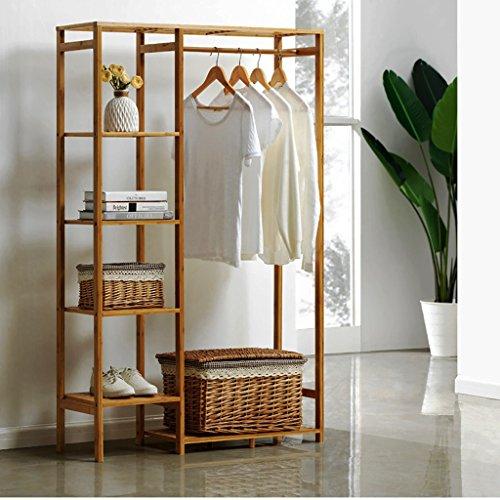 porte-manteaux bois étagère sur pied penderie portant à vêtements en bambou avec porte-manteau le