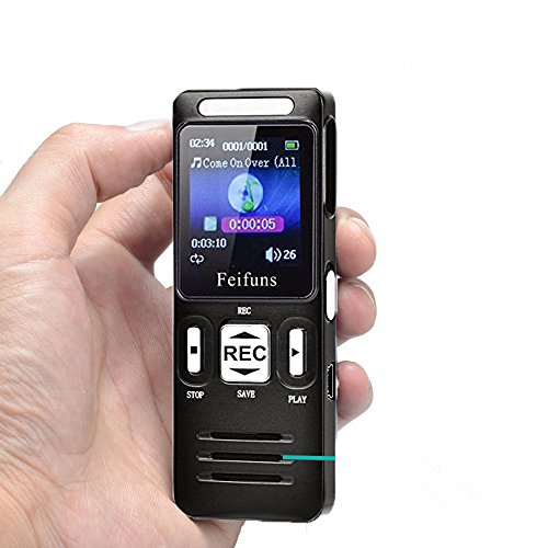 Digitales Diktiergerät, 8GB 1536 kbps Tonaufnahmegerät,MP3-Player Tragbarer digitaler HD Recorder mit Doppelmikrofon Unterstützungs für Vorträge/Meetings/Interview
