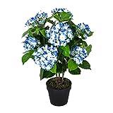Homescapes Kunstpflanze Kunstblume Blaue Hortensie im Topf 70 cm hoch