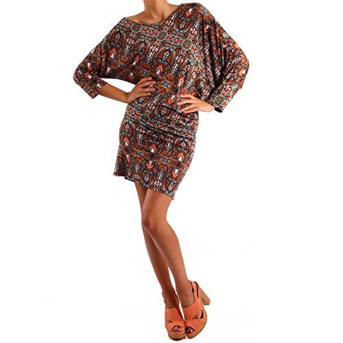 Damen Minikleid Asymmetrisch Bedruckt Braun