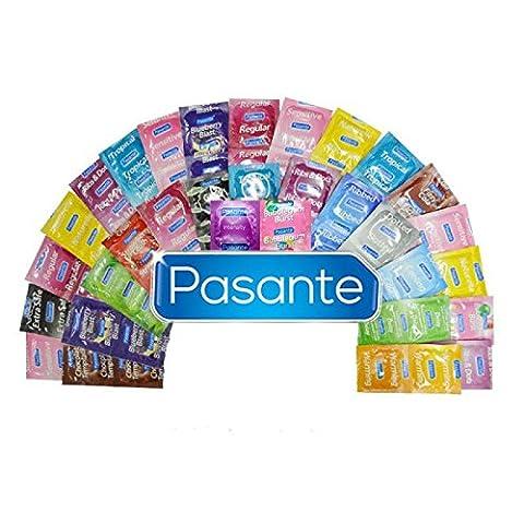 Mix de Préservaifs Pasante à Petit Prix - MIx de 50 préservatifs - Le Mix Pack Contient entre autres des Préservatifs Colorés, Parfumés, Ultra Fins, Renforcés et Retardants.