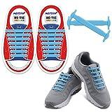 HOMAR No Tie Schnürsenkel für Kinder und Erwachsene - Wasserdichte Flache Elastische Silikonschnürsenkel aus Silikon mit Multicolor für Sneaker Boots, Board-Schuhe und Freizeitschuhe - Himmelblau