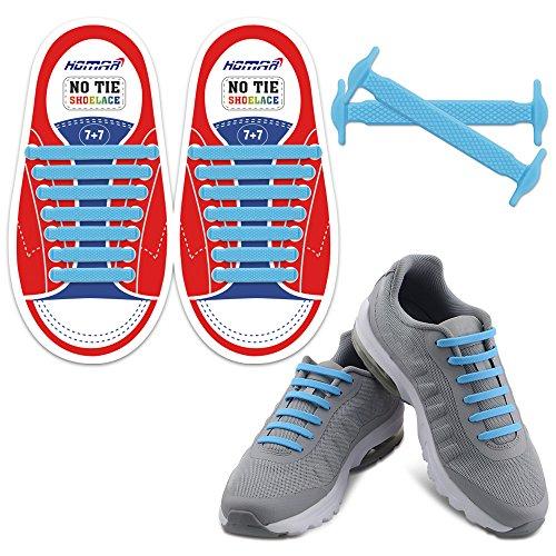 Homar no tie lacci per scarpe per bambini e adulti - impermeabile in silicone elastico piatto laces athletic scarpa da corsa con multicolore per scarpe sneakerboots bordo e scarpe casual (kid size blue)
