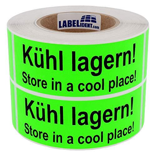 Labelident Warnetiketten (150 x 50 mm) - Kühl lagern! Store in a cool place! - 1000 Versandaufkleber auf Rolle, Papier leuchtgrün, permanent haftend