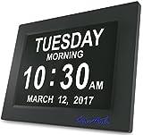SUPERWORLD® 8inch LCD Horloge Numérique Calendrier Avec Date, Jour Et Heure | Horloge Alzheimer | Horloge Pour Les Seniors Vous Pouvez Voir Clairement Le Temps Même La Nuit, C'est Le Meilleur Cadeau Pour Les Parents, Grands-parents Et Enfants