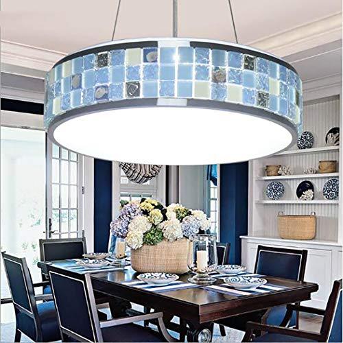 Durchmesser Flush Mount Decke Leuchte (Viktorianische Decke Anhänger Leuchte Tiffany Stil Glasmalerei Hängelampe Mosaik Deckenleuchte für Esszimmer Schlafzimmer Wohnzimmer,Blue,30cm)