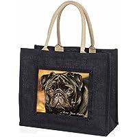 Black Pug Dog 'Love You Mum' Large Black Shopping Bag Christmas Present Idea