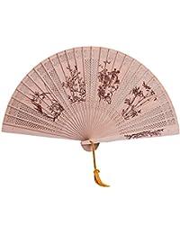 Leisial Hueco Clásico Abanico Plegable de Madera Bambu Talla de Manualidades de Madera de Impresión (