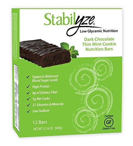 Stabilyze Dark Chocolate Thin Mint Cookie Nutrition Bars, 1.8oz Bars (Box of 12) by Stabilyze