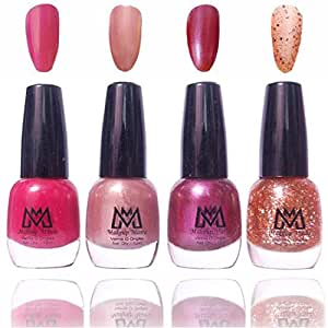 Makeup Mania Premium Nail Polish Exclusive Nail Paint Combo (Pink, Pearl, Golden Glitter, Dark Mauve, Pack of 4)