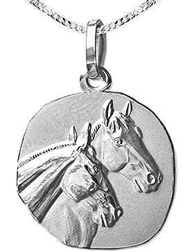 CLEVER SCHMUCK-SET Silberner Anhänger als Medaille mit 2 Pferdeköpfen Ø 18 mm mit Kette Panzer 50 cm STERLING...