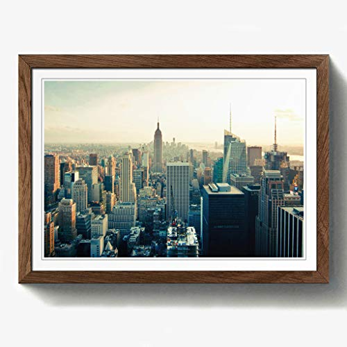 Manhattan-walnuss (BIG Box Art Manhattan New York City Skyline USA 10,2cm Print mit schwarzem Rahmen, Mehrfarbig, A2, 24,5x 18_ P, Holz, walnuss, 24.5 x 18-Inch)