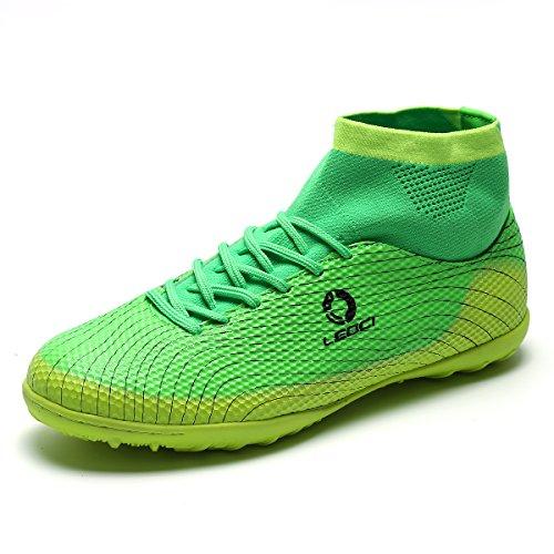 ASHION Fußball Schuhe Erwachsene Futsal Chaussures Fuß Indoor Fußball Stiefel Cleats Fußball Schuhe Kinder Sneakers (41, Grün)