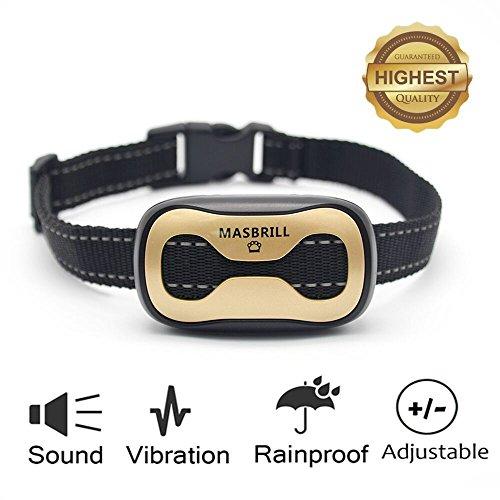 MASBRILL Anti-Bell-Halsbänder - Hunde Trainingshalsband für Kleine und Mittelgroße Hunde mit Vibration Kontrolle übermäßigem Bellen Antibell Halsband Sicher und Human Ohne Schock