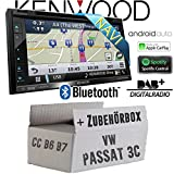 VW Passat 3C CC B6 B7 - Autoradio Radio Kenwood DNX5180DABS - 2-DIN NAVI | DAB+ | Bluetooth | CD/DVD | Apple CarPlay | Einbauzubehör - Einbauset