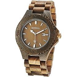 Alienwork Quartz Watch natural solid wood Wristwatch Handmade Green sandalwood green green UM023B-03
