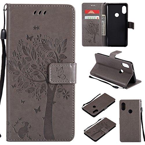 CMID Funda Xiaomi Mi A2 / Mi 6X, PU Cuero Libro Billetera Tapa Antigolpes Protective [Ranura para Tarjetas][Función de Soporte] Cartera Carcasa Case para Xiaomi Mi A2 / Mi 6X (A-Gris)