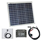 30W 12V Photonic Universe solar panel kit with 5A charge controller and battery cables for a camper, caravan, boat or any other 12V system (30 watt)